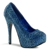 TEEZE-06R Blue Satin/Iridescent Rhinestone
